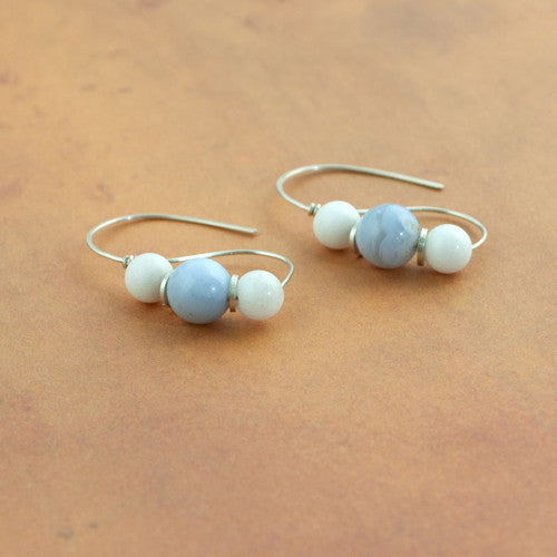 Roman Earrings - Blue Lace Agate and White Marble - Sinclair Jewelry - 1