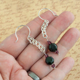 Obsidian Garnet and Silver Handmade Chain Earrings - Sinclair Jewelry - 3