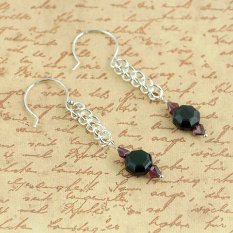 Deco Earrings - Obsidian, Garnet & Silver