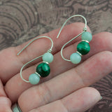 Roman Earrings - Malachite and Onyx - Sinclair Jewelry - 3