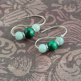 Roman Earrings - Malachite and Onyx - Sinclair Jewelry - 1