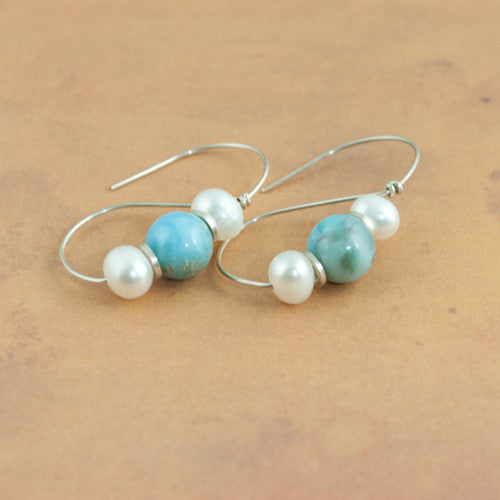 Roman Earrings - Larimar and Pearl - Sinclair Jewelry - 1