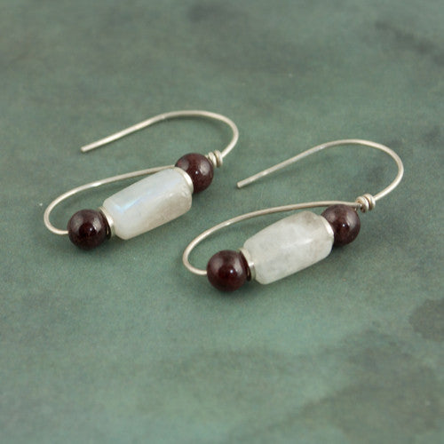 Roman Earrings - Moonstone and Garnet - Sinclair Jewelry - 1