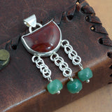 Handmade Agate and Aventurine Sterling Silver Pendant - Sinclair Jewelry - 2
