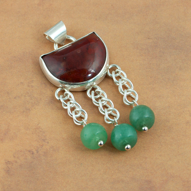 Handmade Agate and Aventurine Sterling Silver Pendant - Sinclair Jewelry - 3