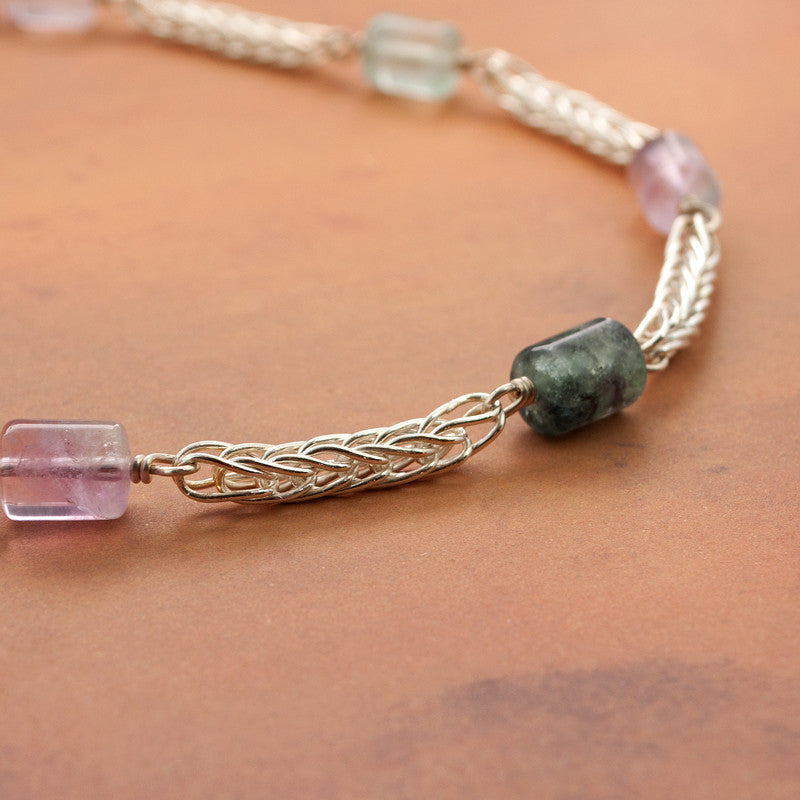Fluorite and Fine Silver station necklace Choker - Sinclair Jewelry - 2