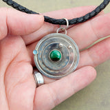 Sterling Silver Gaming Counter Pendant - Topaz & Malachite - Sinclair Jewelry - 2