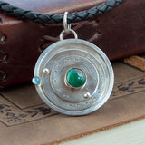 Sterling Silver Gaming Counter Pendant - Topaz & Malachite - Sinclair Jewelry - 4