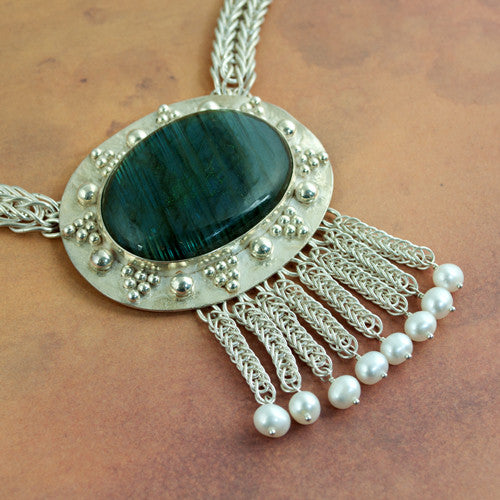 Selene - Labradorite, Silver and Pearl Necklace