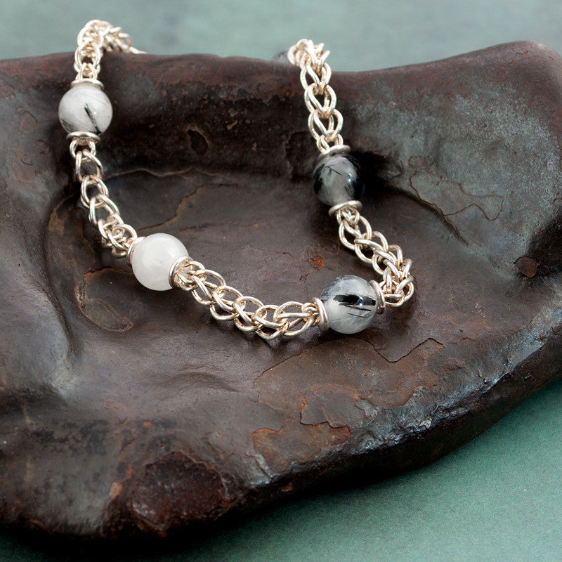 Beaded Classical Chain Bracelet - Tourmalated Quartz & Fine Silver - Sinclair Jewelry - 1