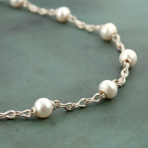 Classical Chain Pearl Station Necklace - Pearls & Fine Silver - Sinclair Jewelry - 1