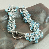 Frosty Blue and Silver Beaded Chainmaille Bracelet - Sinclair Jewelry - 1