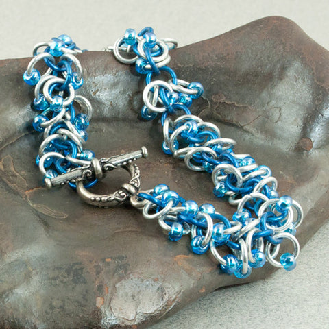Boa - Iridescent Blue & Silver Beaded Chainmaille Bracelet