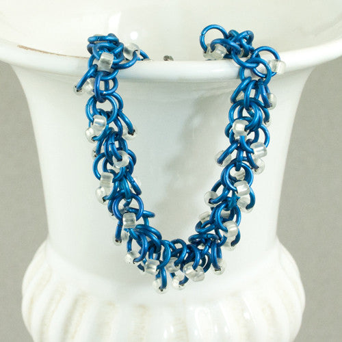 Frosty White and Blue Beaded Chainmaille Bracelet - Sinclair Jewelry - 1