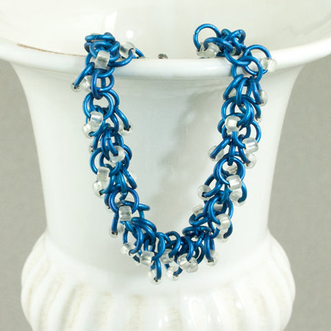 Boa - Frosty White & Blue Beaded Chainmaille Bracelet