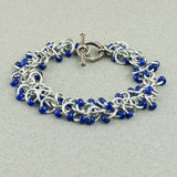 Royal Blue and Silver Beaded Chainmaille Bracelet - Sinclair Jewelry - 3