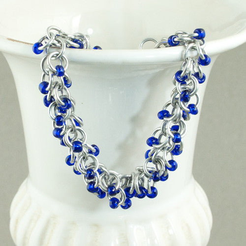 Royal Blue and Silver Beaded Chainmaille Bracelet - Sinclair Jewelry - 1