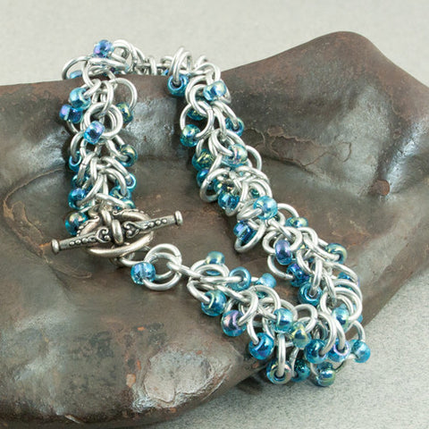 Boa - Shimmery Blue & Silver Beaded Chainmaille Bracelet