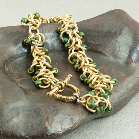 Boa - Forest Green & Gold Beaded Chainmaille Bracelet