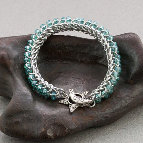 Blue and Silver Beaded Chainmaille Bracelet - Sinclair Jewelry - 1