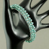 Blue and Silver Beaded Chainmaille Bracelet - Sinclair Jewelry - 4