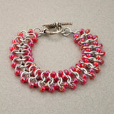 Coral Red and Silver Beaded Chainmaille Bracelet - Sinclair Jewelry - 4