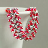Coral Red and Silver Beaded Chainmaille Bracelet - Sinclair Jewelry - 3