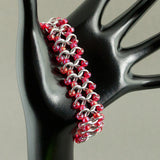Coral Red and Silver Beaded Chainmaille Bracelet - Sinclair Jewelry - 1