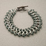 Grey and Silver Beaded Chainmaille Bracelet - Sinclair Jewelry - 3