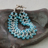 Ice Blue and Silver Beaded Chainmaille Bracelet - Sinclair Jewelry - 3