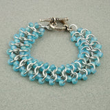 Ice Blue & Silver Beaded Chainmaille Lace Bracelet