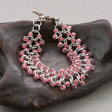Pink and Silver Beaded Chainmaille Bracelet - Sinclair Jewelry - 2