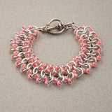 Pink and Silver Beaded Chainmaille Bracelet - Sinclair Jewelry - 3