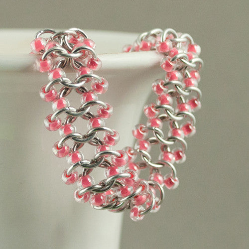 Pink and Silver Beaded Chainmaille Bracelet - Sinclair Jewelry - 1