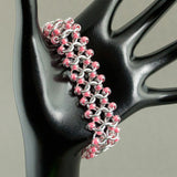 Pink and Silver Beaded Chainmaille Bracelet - Sinclair Jewelry - 4
