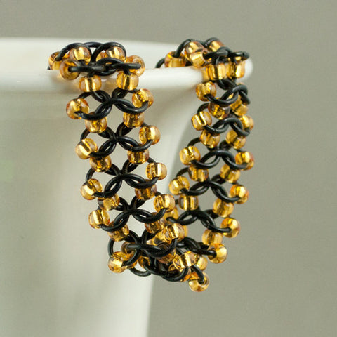 Black Gold Beaded Chainmaille Bracelet - Sinclair Jewelry - 1