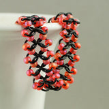 Shimmery Orange & Black Beaded Chainmaille Lace Bracelet