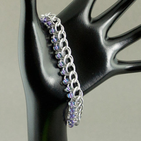 Lilac and Silver Beaded Chainmaille Bracelet - Sinclair Jewelry - 1