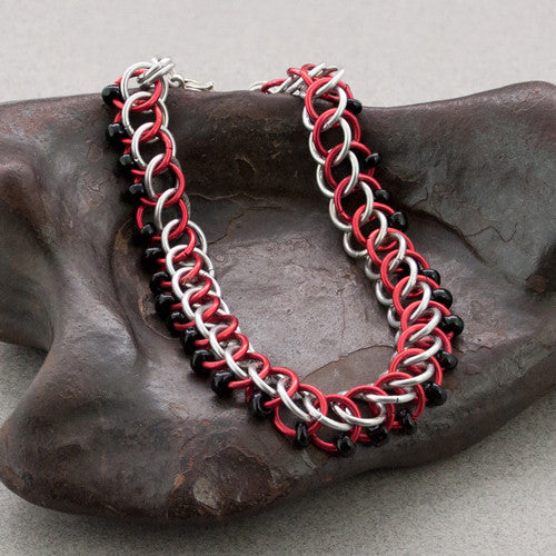 Black Red and Silver Beaded Chainmaille Bracelet - Sinclair Jewelry - 1