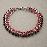 Black Red and Silver Beaded Chainmaille Bracelet - Sinclair Jewelry - 2