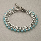 Ice Blue and Silver Beaded Chainmaille Bracelet - Sinclair Jewelry - 4