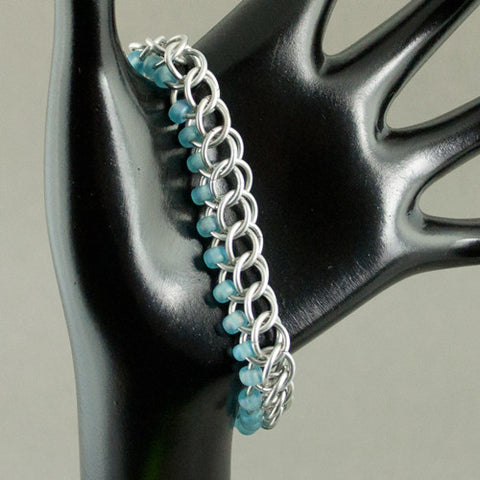Ice Blue and Silver Beaded Chainmaille Bracelet - Sinclair Jewelry - 1