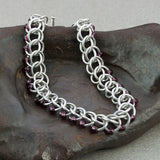 Dark Purple and Silver Beaded Chainmaille Bracelet - Sinclair Jewelry - 2