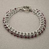 Dark Purple and Silver Beaded Chainmaille Bracelet - Sinclair Jewelry - 4