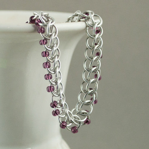 Dark Purple and Silver Beaded Chainmaille Bracelet - Sinclair Jewelry - 1