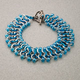 Iridescent Blue and Silver Beaded Chainmaille Bracelet - Sinclair Jewelry - 2