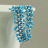 Iridescent Blue and Silver Beaded Chainmaille Bracelet - Sinclair Jewelry - 3
