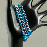 Iridescent Blue & Silver Beaded Chainmaille Ribbon Bracelet