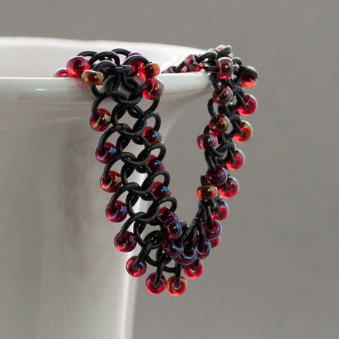 Red and Black Beaded Chainmaille Bracelet - Sinclair Jewelry - 1