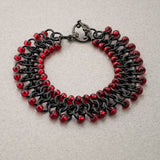 Red and Black Beaded Chainmaille Bracelet - Sinclair Jewelry - 2